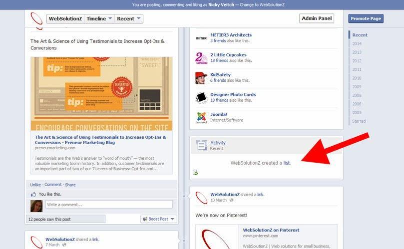 Facebook Business Page and Interest Lists - WebSolutionZ com au